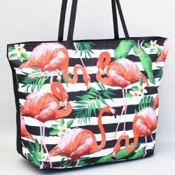 7ff5eb2a6c8 Плажна чанта евтина от непромокаем плат, на райета с фламинго и цветя