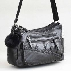 b5df8a7aafa Евтина дамска чанта за през рамо от мека варена еко кожа, с много отделения  +